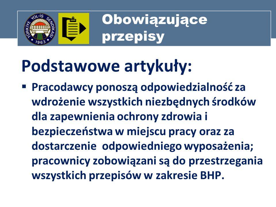 Obowiązujące przepisy Podstawowe artykuły : Ministerstwo Pracy i Bezpieczeństwa Społecznego ma obowiązek wprowadzania zasad i przepisów w zakresie ochrony zdrowia i bezpieczeństwa.