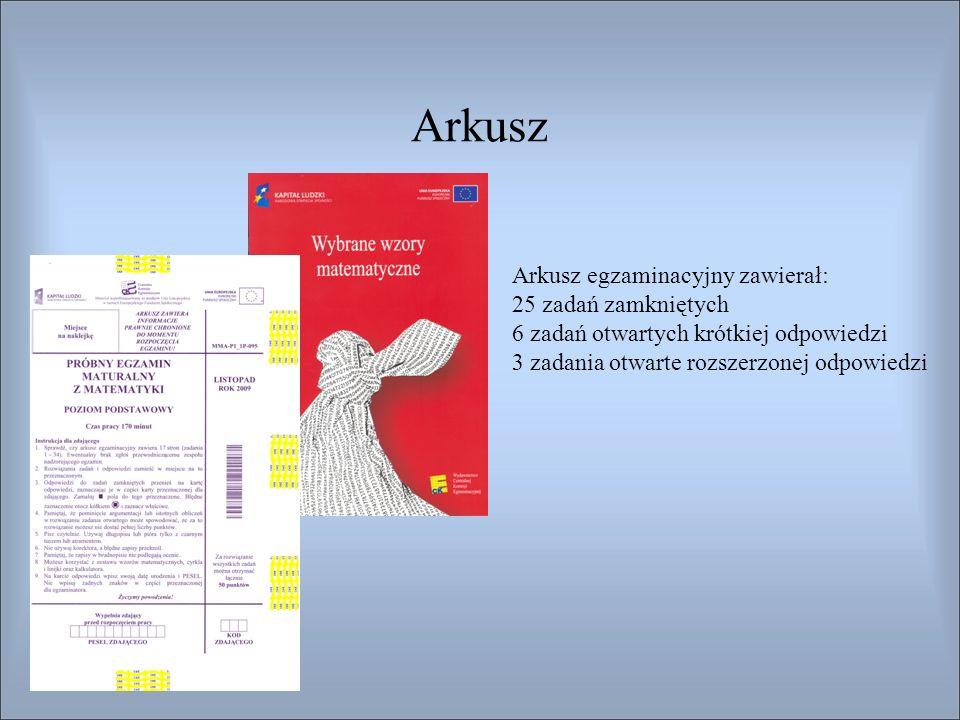 Arkusz Arkusz egzaminacyjny zawierał: 25 zadań zamkniętych 6 zadań otwartych krótkiej odpowiedzi 3 zadania otwarte rozszerzonej odpowiedzi