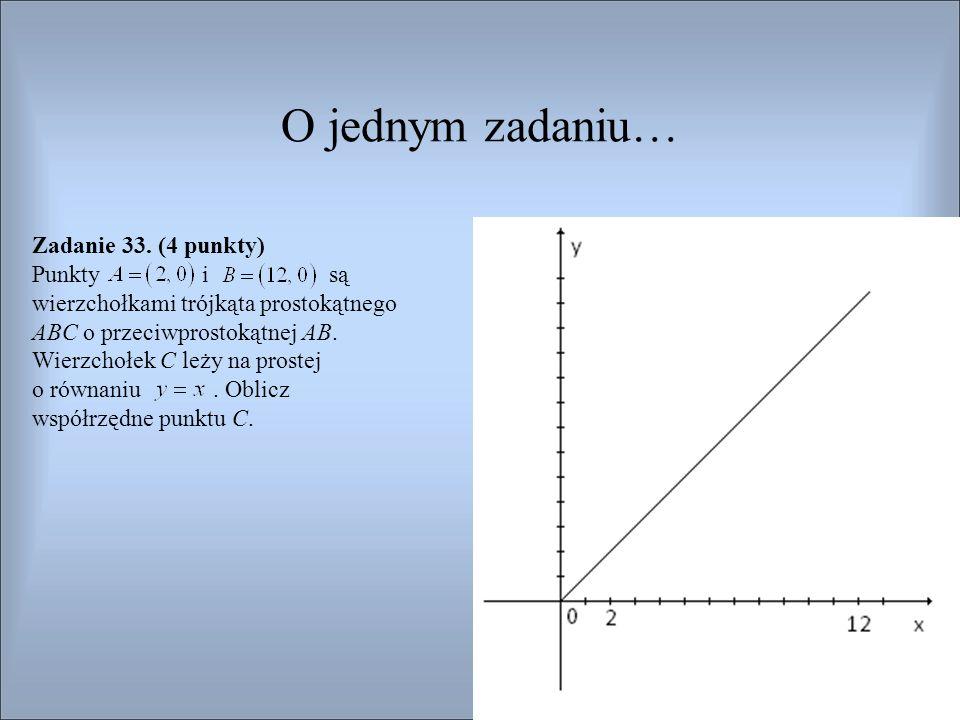 Ocenianie Rozwiązanie, w którym postęp jest niewielki, ale konieczny na drodze do pełnego rozwiązania ……………………………………………………………………..1 pkt Wyznaczenie współrzędnych środka przeciwprostokątnej:.