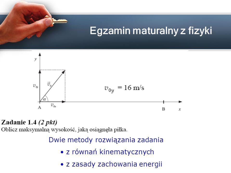 Dwie metody rozwiązania zadania z równań kinematycznych z zasady zachowania energii