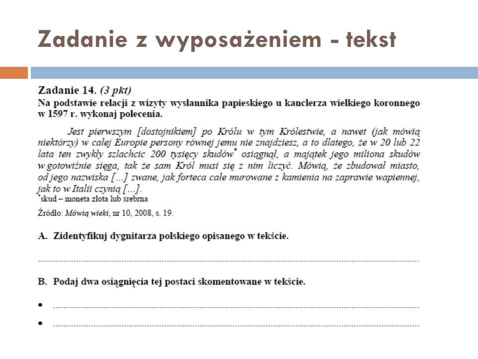 Zadanie z wyposażeniem - tekst