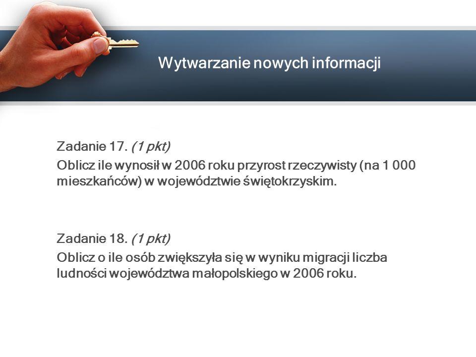 Wytwarzanie nowych informacji Zadanie 17. (1 pkt) Oblicz ile wynosił w 2006 roku przyrost rzeczywisty (na 1 000 mieszkańców) w województwie świętokrzy