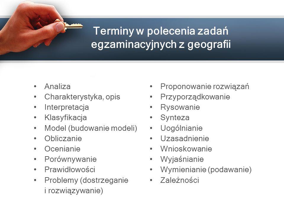 Terminy w polecenia zadań egzaminacyjnych z geografii Analiza Charakterystyka, opis Interpretacja Klasyfikacja Model (budowanie modeli) Obliczanie Oce