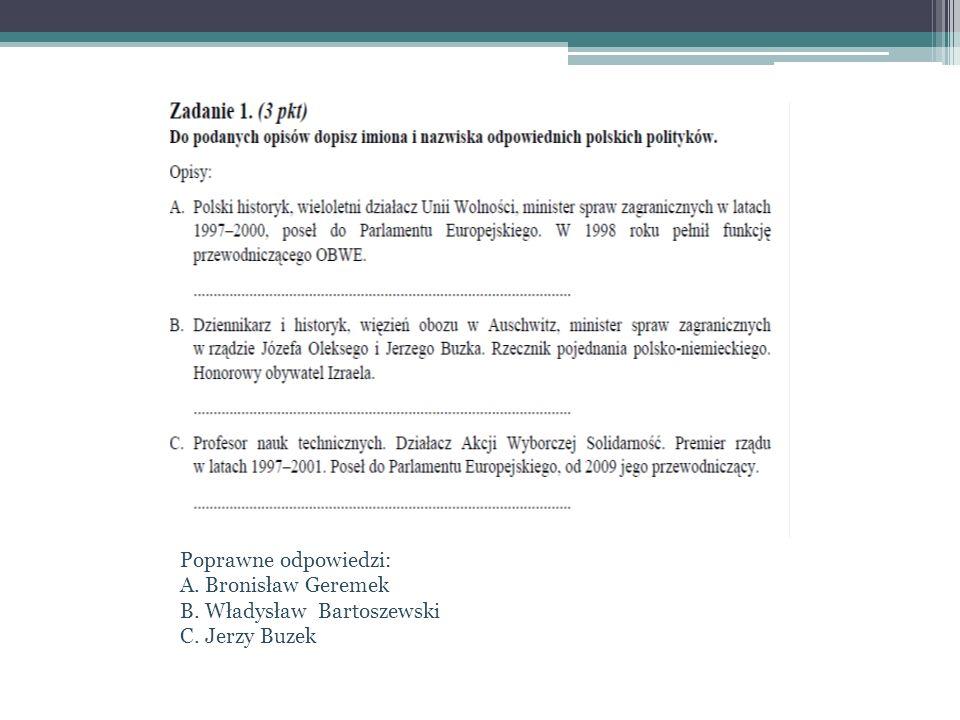 Poprawne odpowiedzi: A. Bronisław Geremek B. Władysław Bartoszewski C. Jerzy Buzek