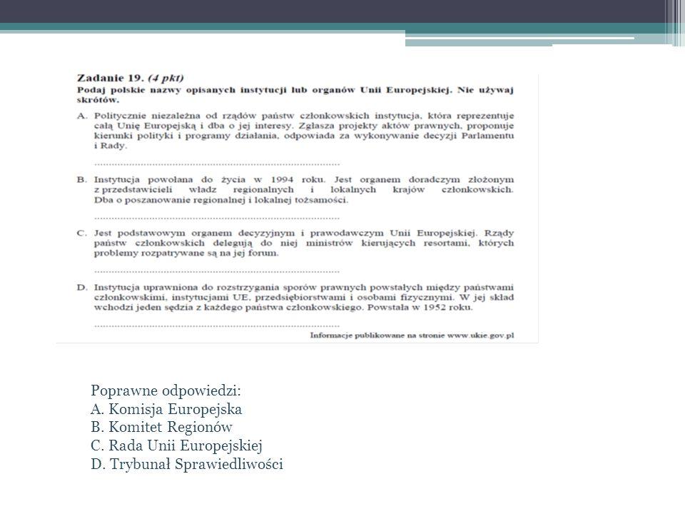 Poprawne odpowiedzi: A. Komisja Europejska B. Komitet Regionów C. Rada Unii Europejskiej D. Trybunał Sprawiedliwości