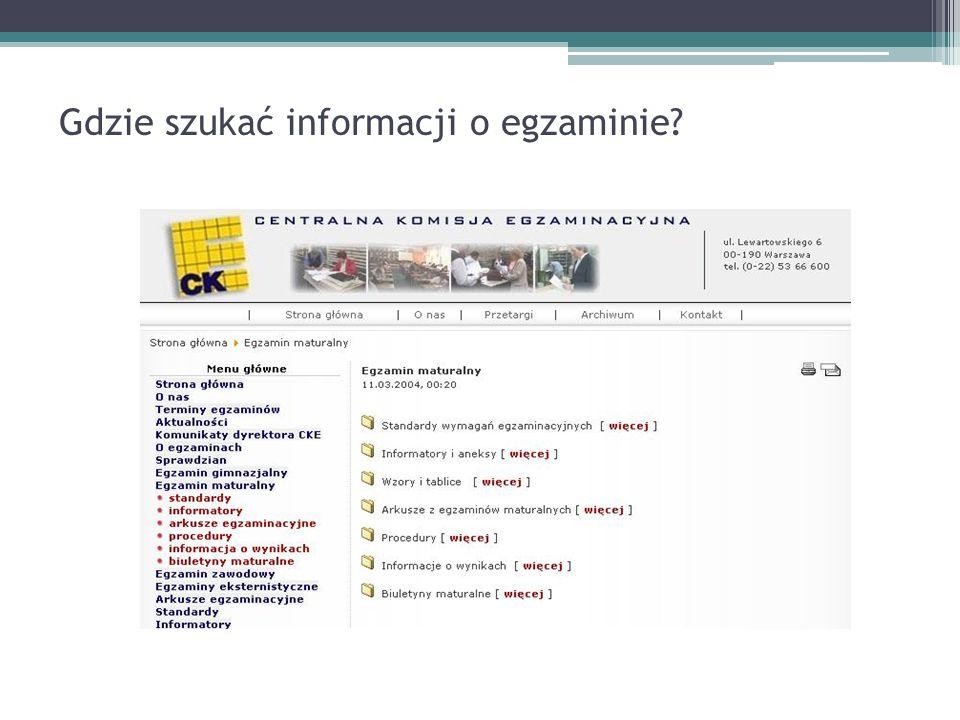 Gdzie szukać informacji o egzaminie?