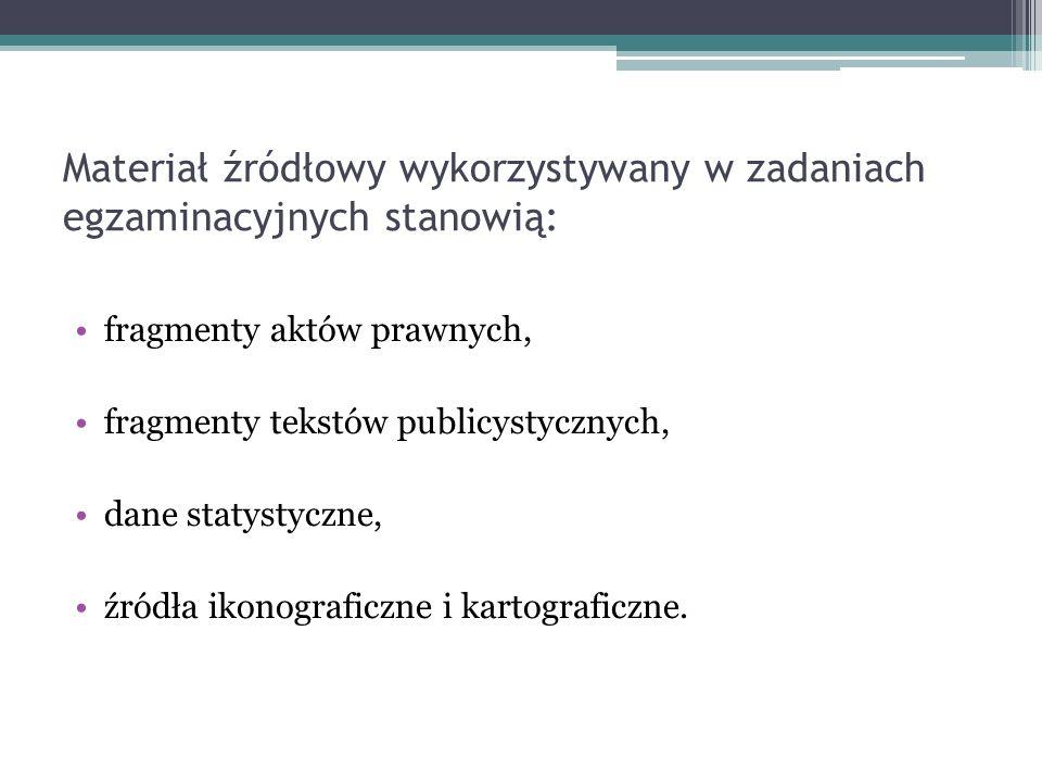 Materiał źródłowy wykorzystywany w zadaniach egzaminacyjnych stanowią: fragmenty aktów prawnych, fragmenty tekstów publicystycznych, dane statystyczne