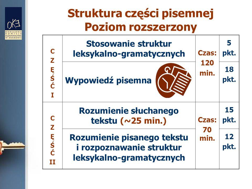 Struktura części pisemnej Poziom rozszerzony CZĘŚĆICZĘŚĆI Stosowanie struktur leksykalno-gramatycznych Czas: 120 min. 5 pkt. Wypowiedź pisemna 18 pkt.