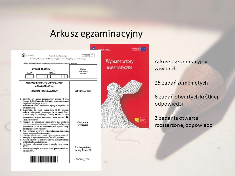 Arkusz egzaminacyjny Arkusz egzaminacyjny zawierał: 25 zadań zamkniętych 6 zadań otwartych krótkiej odpowiedzi 3 zadania otwarte rozszerzonej odpowied