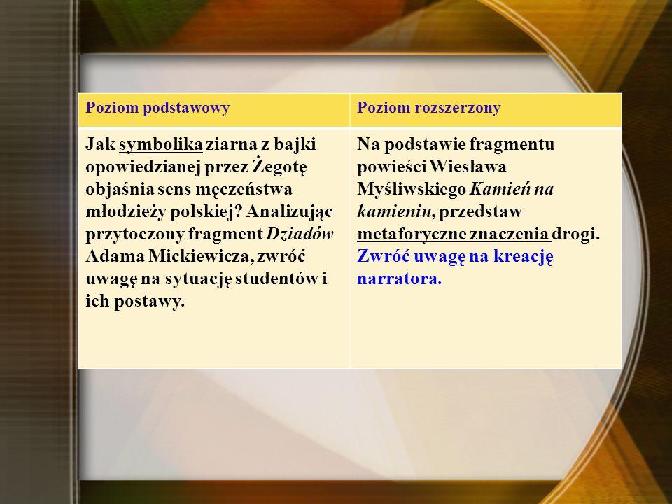 Poziom podstawowyPoziom rozszerzony Jak symbolika ziarna z bajki opowiedzianej przez Żegotę objaśnia sens męczeństwa młodzieży polskiej.