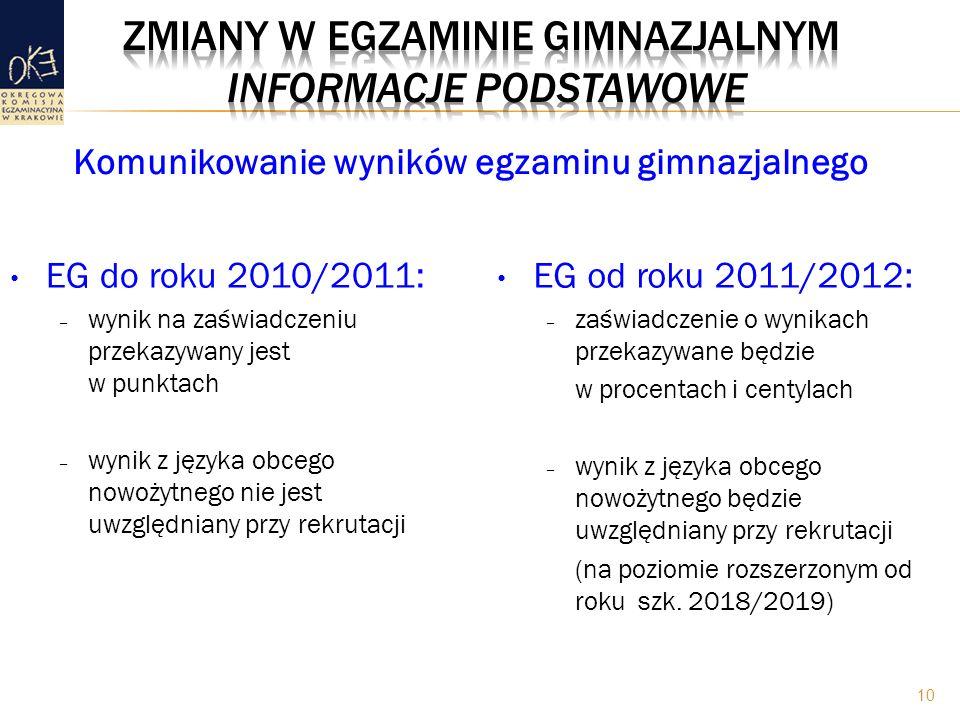 EG do roku 2010/2011: – wynik na zaświadczeniu przekazywany jest w punktach – wynik z języka obcego nowożytnego nie jest uwzględniany przy rekrutacji EG od roku 2011/2012: – zaświadczenie o wynikach przekazywane będzie w procentach i centylach – wynik z języka obcego nowożytnego będzie uwzględniany przy rekrutacji (na poziomie rozszerzonym od roku szk.