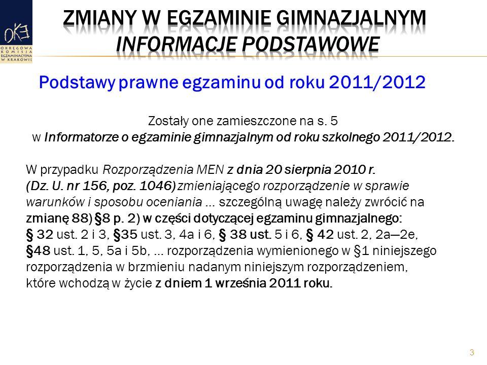 EG do roku 2010/2011: – sprawdza umiejętności i wiadomości opisane w Standardach wymagań egzaminacyjnych – odnosi się do wybranych przedmiotów i ścieżek edukacyjnych EG od roku 2011/2012: – sprawdza opanowanie wiadomości i umiejętności określonych w wymaganiach ogólnych i szczegółowych zawartych w podstawie programowej – odnosi się do wybranych przedmiotów nauczanych na trzecim i wcześniejszych etapach edukacyjnych (w myśl zasady kumulatywności) Zakres wymagań egzaminacyjnych 4