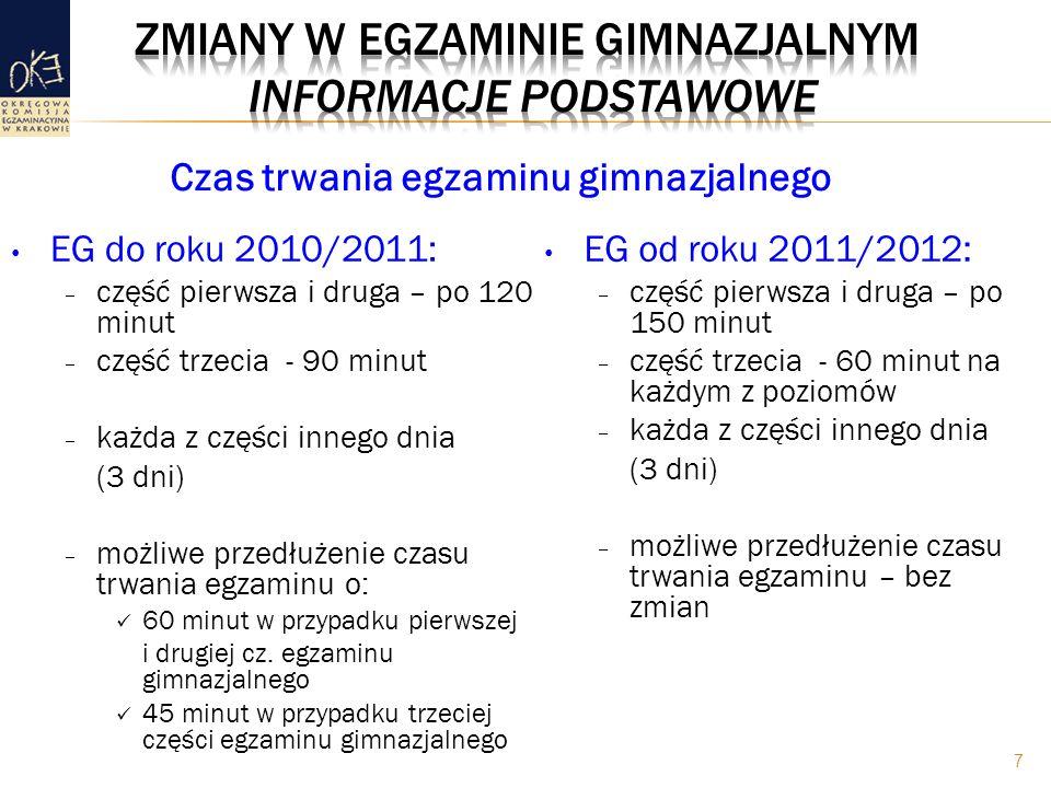 EG do roku 2010/2011: – część pierwsza i druga – po 120 minut – część trzecia - 90 minut – każda z części innego dnia (3 dni) – możliwe przedłużenie czasu trwania egzaminu o: 60 minut w przypadku pierwszej i drugiej cz.