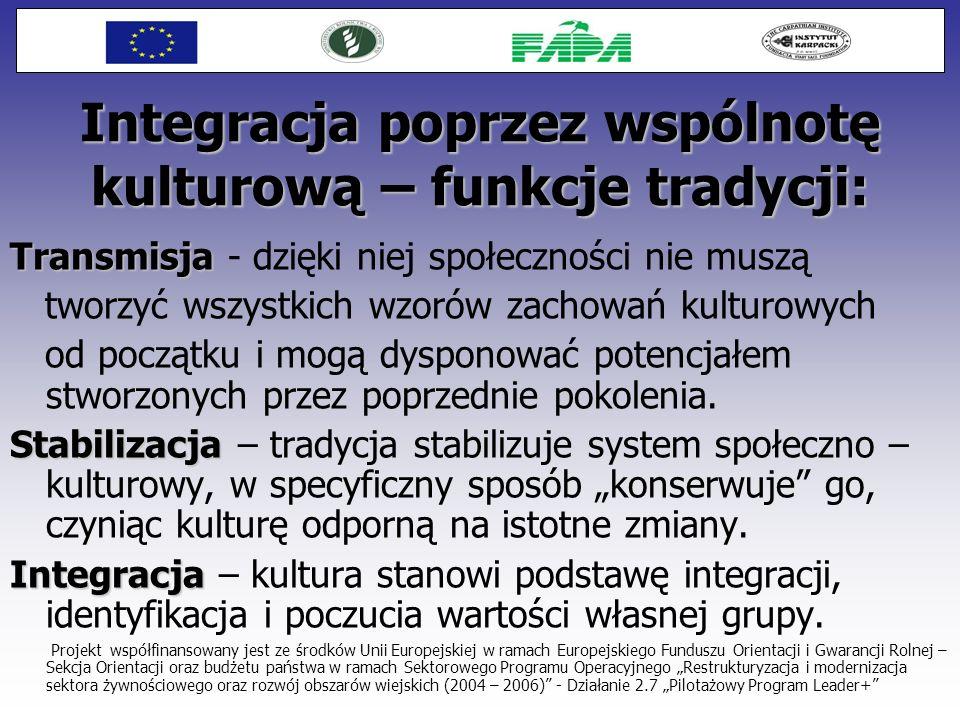 Integracja poprzez wspólnotę kulturową – funkcje tradycji: Transmisja Transmisja - dzięki niej społeczności nie muszą tworzyć wszystkich wzorów zachow