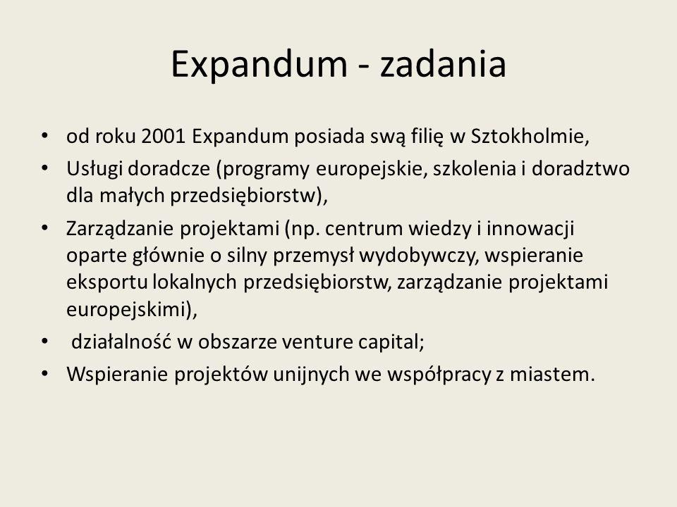 Expandum - zadania od roku 2001 Expandum posiada swą filię w Sztokholmie, Usługi doradcze (programy europejskie, szkolenia i doradztwo dla małych prze