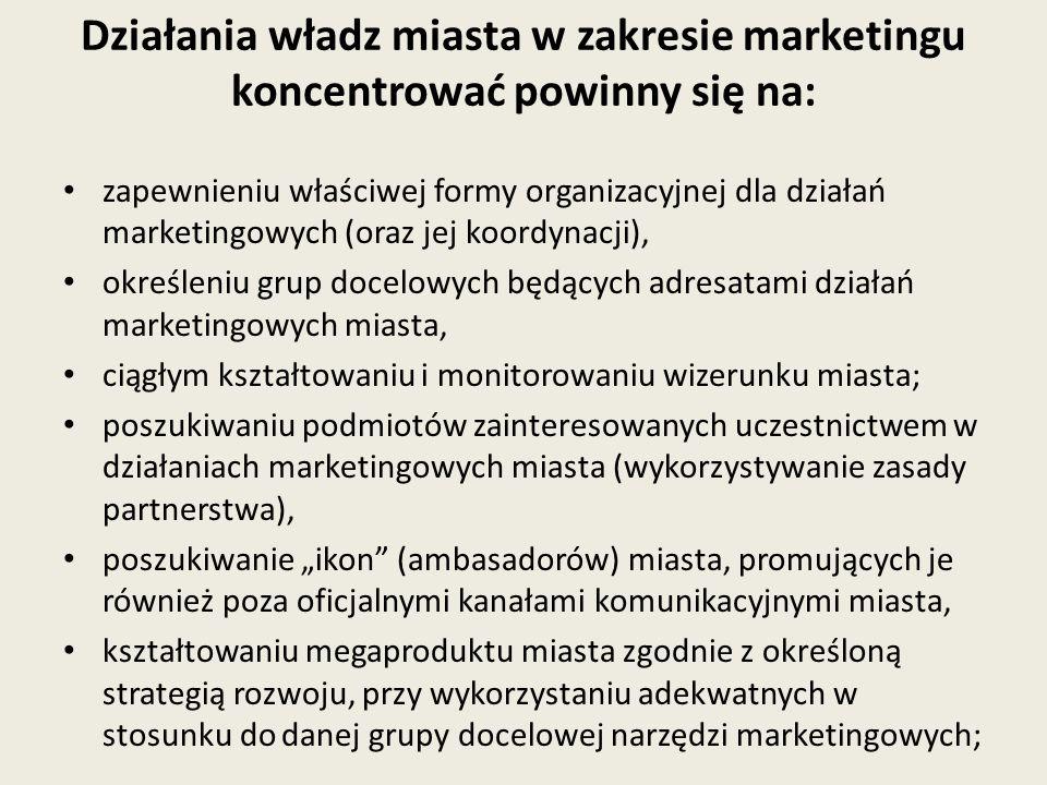 Działania władz miasta w zakresie marketingu koncentrować powinny się na: zapewnieniu właściwej formy organizacyjnej dla działań marketingowych (oraz