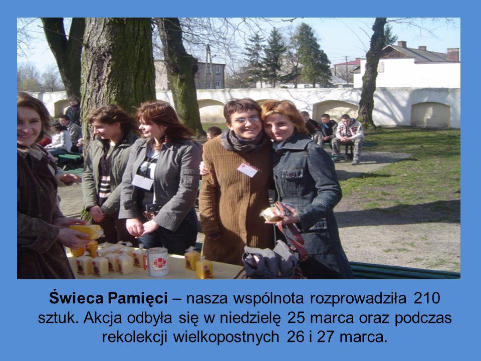 Świeca Pamięci – nasza wspólnota rozprowadziła 210 sztuk. Akcja odbyła się w niedzielę 25 marca oraz podczas rekolekcji wielkopostnych 26 i 27 marca.