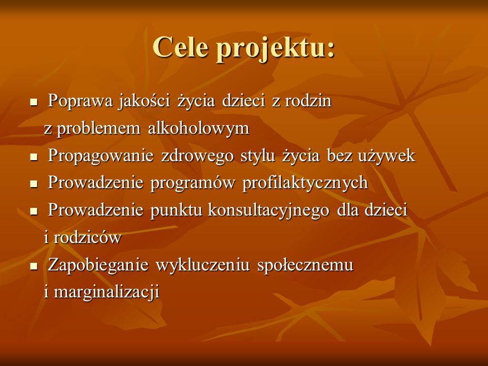 Cele projektu: Poprawa jakości życia dzieci z rodzin Poprawa jakości życia dzieci z rodzin z problemem alkoholowym z problemem alkoholowym Propagowani