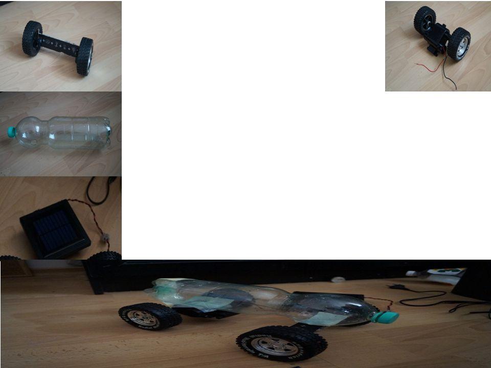 Koła i silnik – zostały wykorzystane z samochodu zabawkowego Rama modelu – Wykonana z butelki po wodzie mineralnej Zamiast paliwa - używamy czystą energię słoneczną, czyli inaczej baterię słoneczną