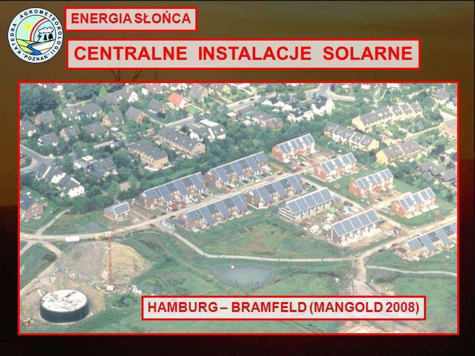 ENERGIA SŁOŃCA CENTRALNE INSTALACJE SOLARNE European Solar Thermal Industry Federation. Bruksela 2008 HAMBURG – BRAMFELD (MANGOLD 2008)