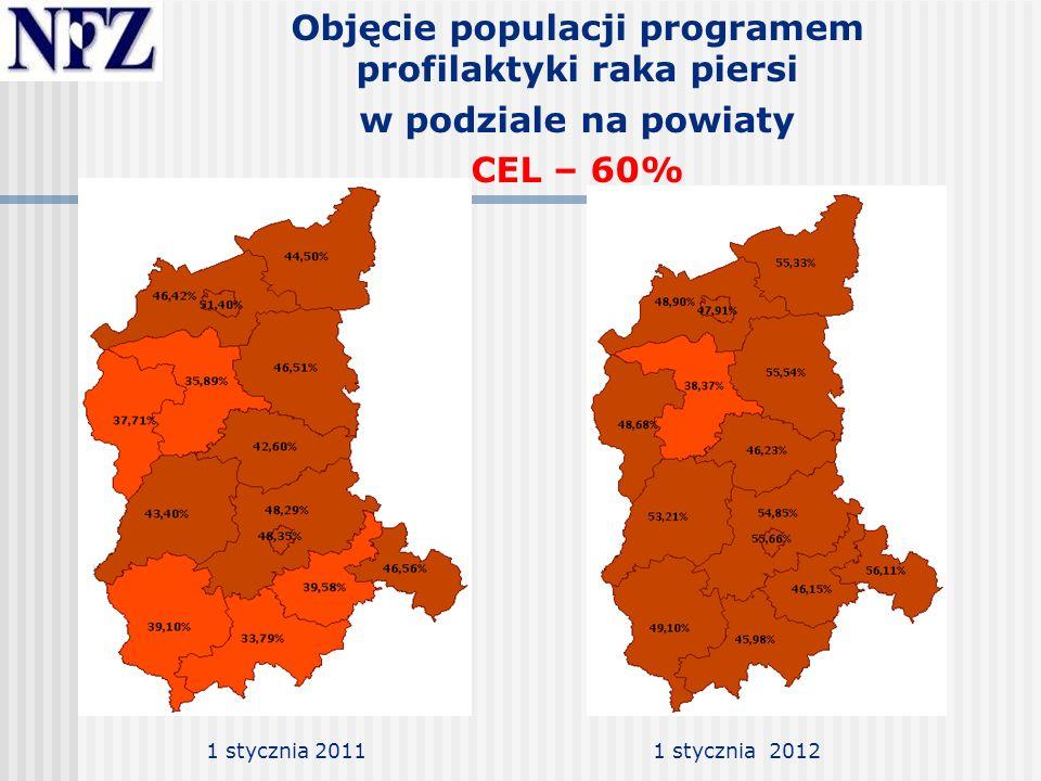 Objęcie populacji programem profilaktyki raka szyjki macicy w podziale na województwa CEL – 40% 1 stycznia 2012 1 luty 2012