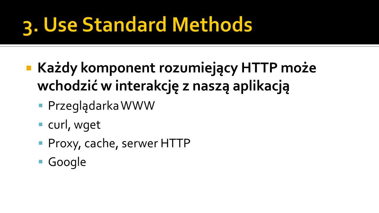 Każdy komponent rozumiejący HTTP może wchodzić w interakcję z naszą aplikacją Przeglądarka WWW curl, wget Proxy, cache, serwer HTTP Google