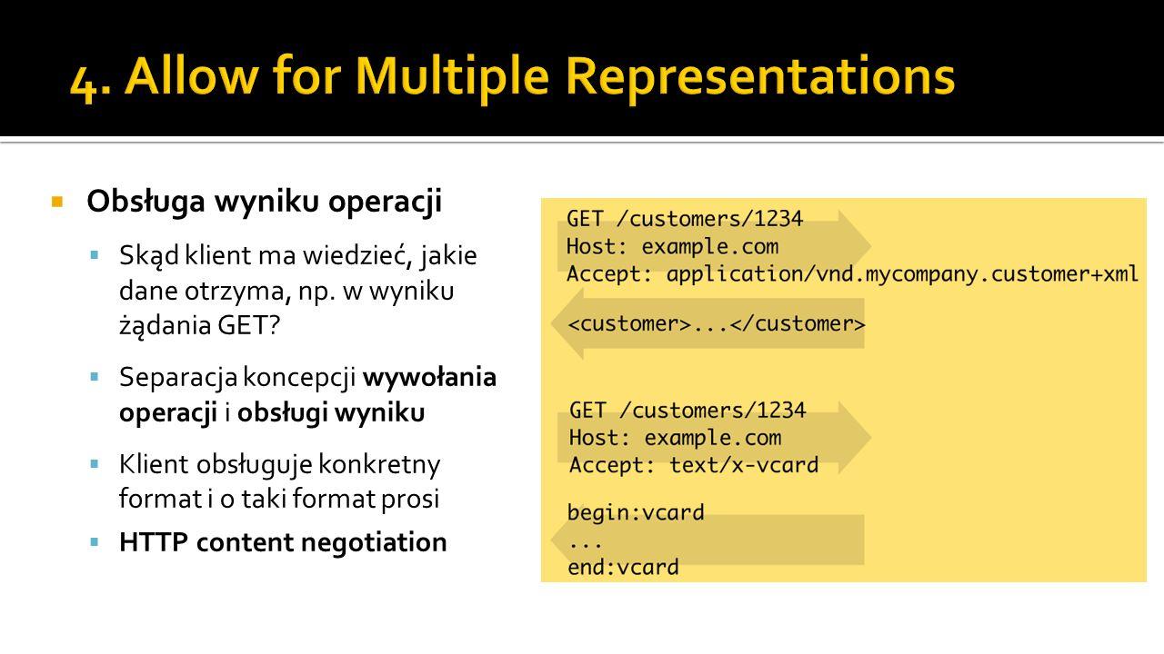Obsługa wyniku operacji Skąd klient ma wiedzieć, jakie dane otrzyma, np. w wyniku żądania GET? Separacja koncepcji wywołania operacji i obsługi wyniku