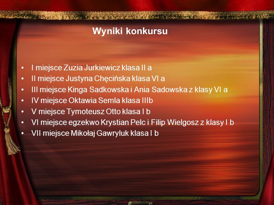 Wyniki konkursu I miejsce Zuzia Jurkiewicz klasa II a II miejsce Justyna Chęcińska klasa VI a III miejsce Kinga Sadkowska i Ania Sadowska z klasy VI a