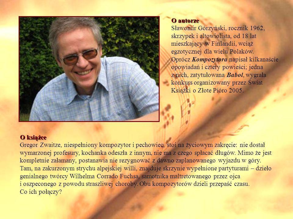 O książce Gregor Zwaitze, niespełniony kompozytor i pechowiec, stoi na życiowym zakręcie: nie dostał wymarzonej profesury, kochanka odeszła z innym, nie ma z czego spłacać długów.
