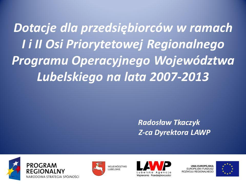 Lubelska Agencja Wspierania Przedsiębiorczości w Lublinie została powołana do wdrażania I i II Osi Priorytetowej RPO WL na lata 2007 – 2013 Cel RPO WL który realizuje LAWP: Lubelska Agencja Wspierania Przedsiębiorczości w Lublinie została powołana do wdrażania I i II Osi Priorytetowej RPO WL na lata 2007 – 2013 Cel RPO WL który realizuje LAWP: Zwiększenie konkurencyjności regionu poprzez wsparcie rozwoju sektorów nowoczesnej gospodarki oraz przez stymulowanie innowacyjności Oś Priorytetowa I Przedsiębiorczość i Innowacje – 242,73 mln euro Oś Priorytetowa II Infrastruktura Ekonomiczna – 75,13 mln euro