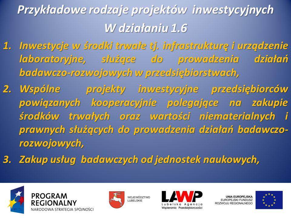 Przykładowe rodzaje projektów inwestycyjnych W działaniu 1.6 1.Inwestycje w środki trwałe tj.