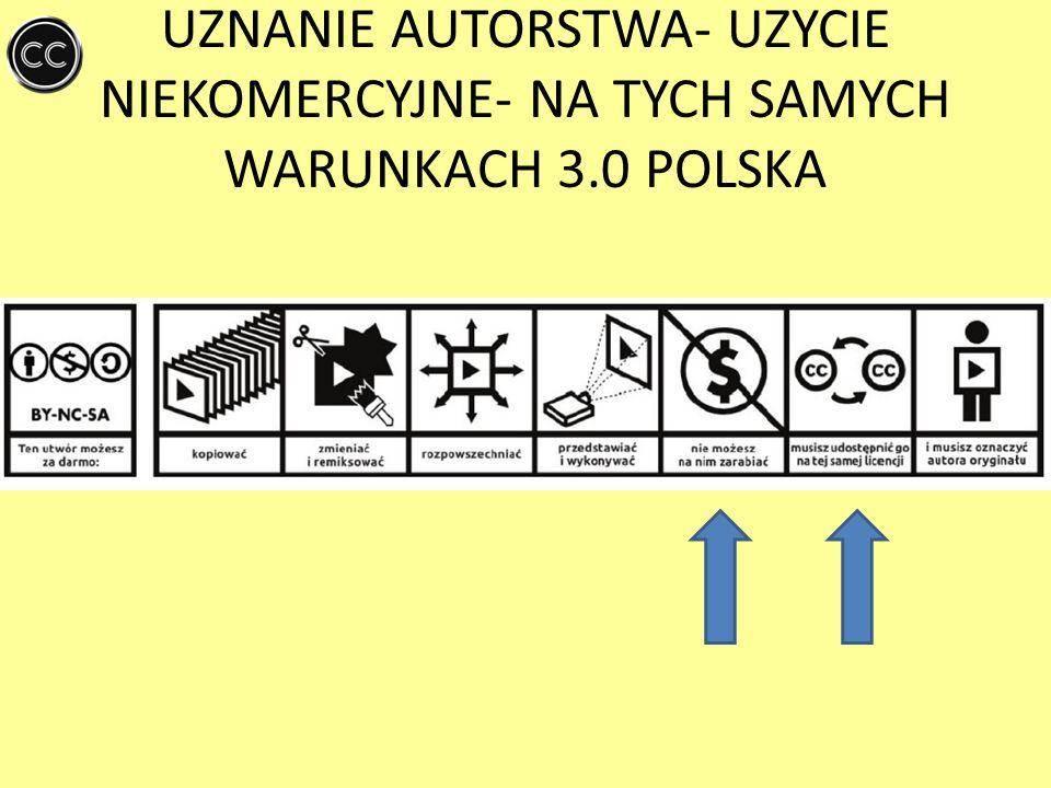 UZNANIE AUTORSTWA- UZYCIE NIEKOMERCYJNE- NA TYCH SAMYCH WARUNKACH 3.0 POLSKA