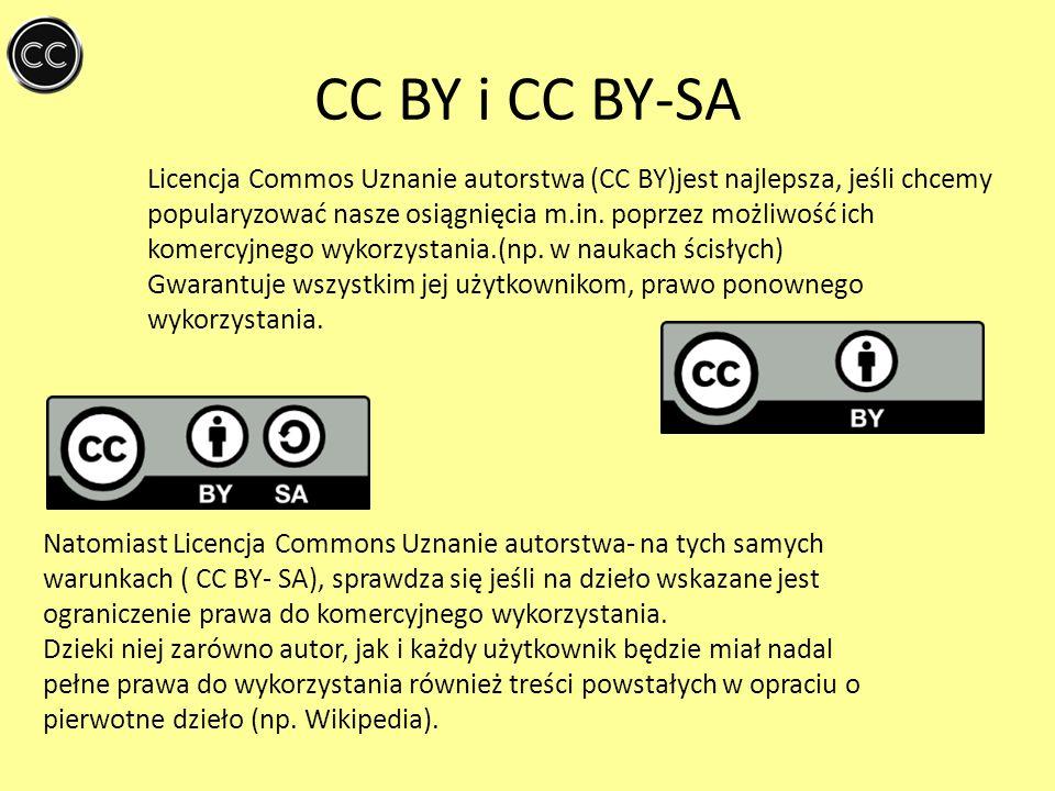 CC BY i CC BY-SA Licencja Commos Uznanie autorstwa (CC BY)jest najlepsza, jeśli chcemy popularyzować nasze osiągnięcia m.in. poprzez możliwość ich kom