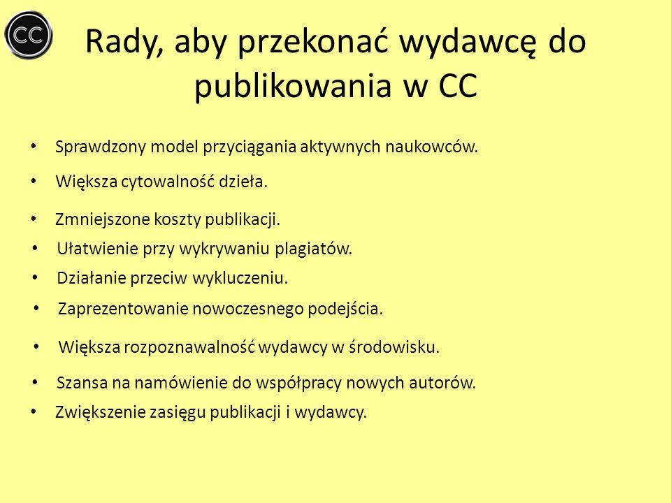 Rady, aby przekonać wydawcę do publikowania w CC Sprawdzony model przyciągania aktywnych naukowców. Większa cytowalność dzieła. Ułatwienie przy wykryw