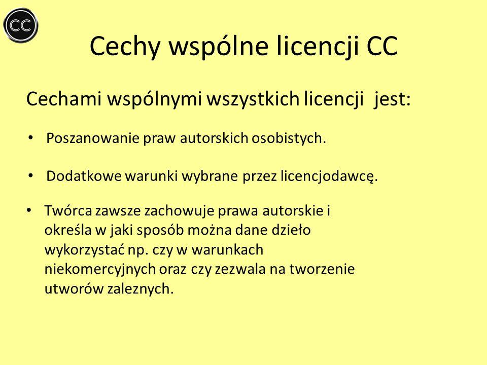 Cechy wspólne licencji CC Cechami wspólnymi wszystkich licencji jest: Poszanowanie praw autorskich osobistych. Dodatkowe warunki wybrane przez licencj