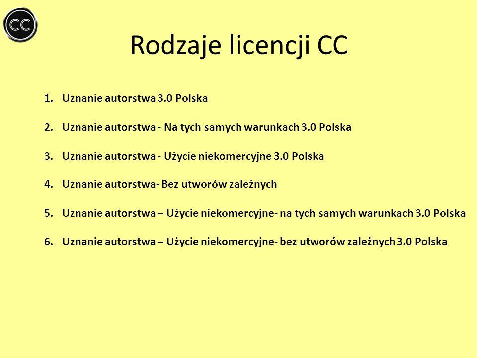 Rodzaje licencji CC 1.Uznanie autorstwa 3.0 Polska 2.Uznanie autorstwa - Na tych samych warunkach 3.0 Polska 3.Uznanie autorstwa - Użycie niekomercyjn