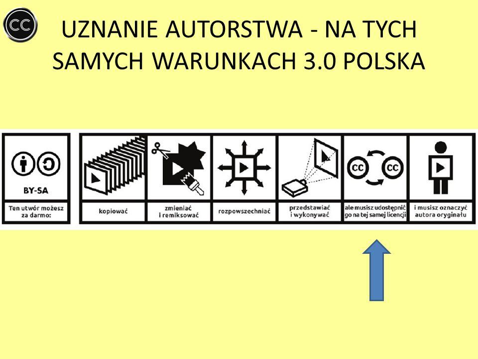 UZNANIE AUTORSTWA- BEZ UTWORÓW ZALEŻNYCH 3.0 POLSKA