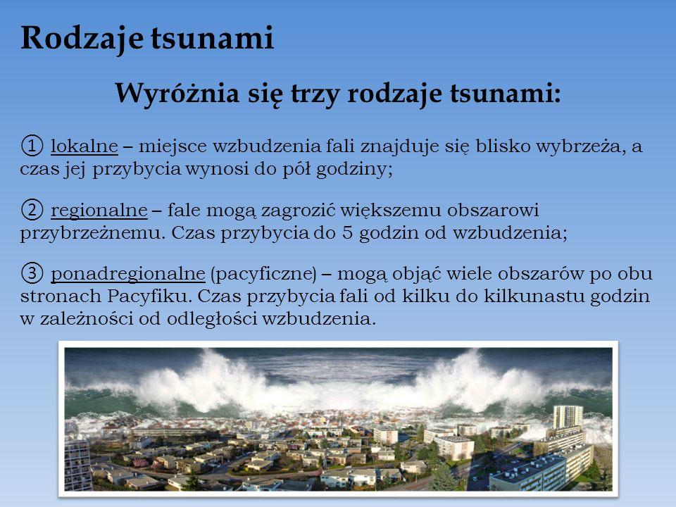 Rodzaje tsunami Wyróżnia się trzy rodzaje tsunami: l okalne – miejsce wzbudzenia fali znajduje się blisko wybrzeża, a czas jej przybycia wynosi do pół