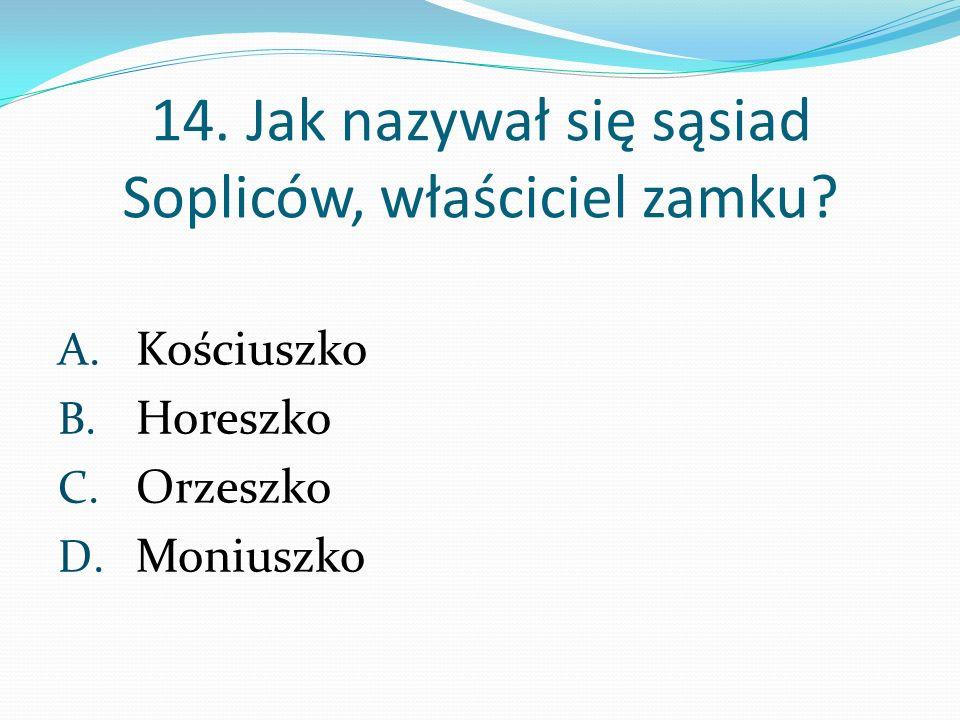 14. Jak nazywał się sąsiad Sopliców, właściciel zamku? A. Kościuszko B. Horeszko C. Orzeszko D. Moniuszko