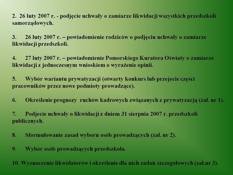 2. 26 luty 2007 r. - podjęcie uchwały o zamiarze likwidacji wszystkich przedszkoli samorządowych.