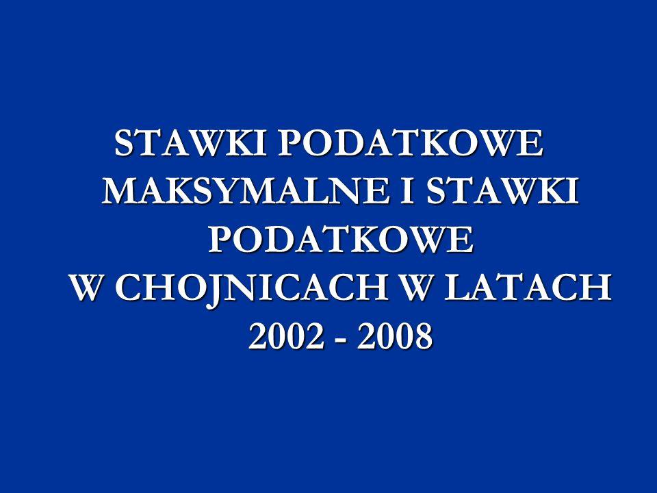 STAWKI PODATKOWE MAKSYMALNE I STAWKI PODATKOWE W CHOJNICACH W LATACH 2002 - 2008