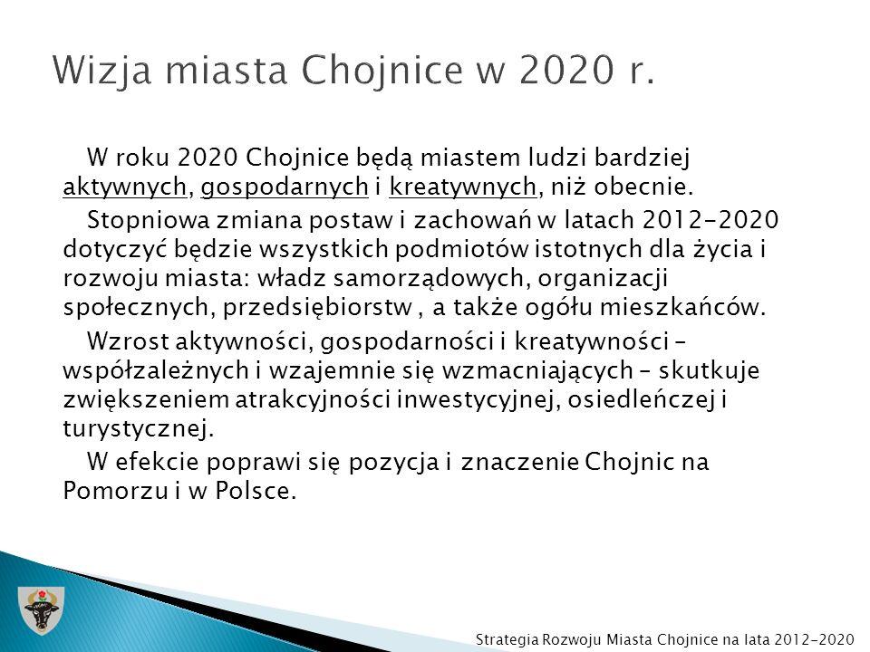 W roku 2020 Chojnice będą miastem oferującym lepsze materialne i organizacyjne warunki życia, pracy i prowadzenia działalności gospodarczej w trzech podstawowych sferach: 1.