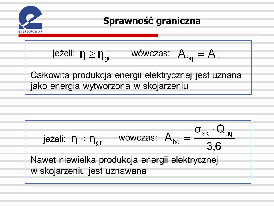 jeżeli:wówczas: Całkowita produkcja energii elektrycznej jest uznana jako energia wytworzona w skojarzeniu jeżeli: wówczas: Nawet niewielka produkcja