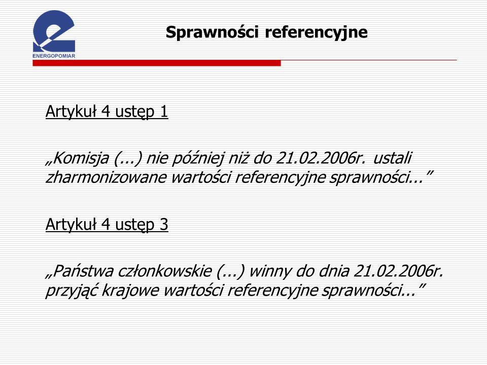 Sprawności referencyjne Artykuł 4 ustęp 1 Komisja (...) nie później niż do 21.02.2006r. ustali zharmonizowane wartości referencyjne sprawności... Arty