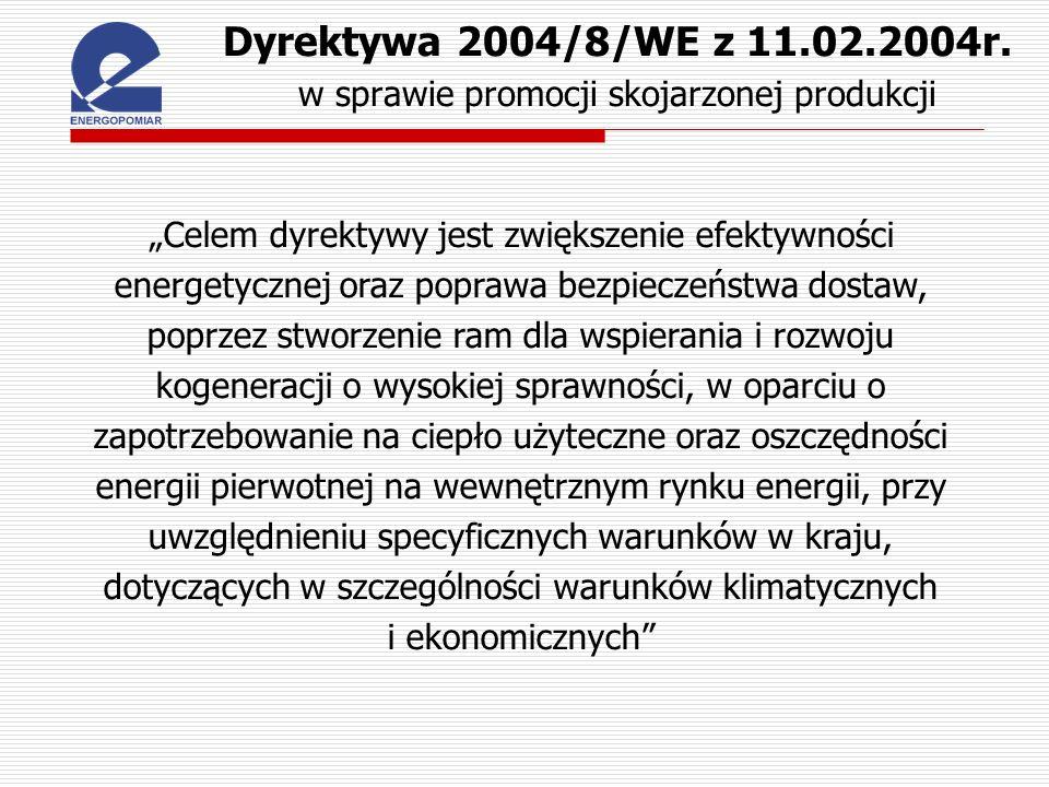 Dyrektywa 2004/8/WE z 11.02.2004r. w sprawie promocji skojarzonej produkcji Celem dyrektywy jest zwiększenie efektywności energetycznej oraz poprawa b