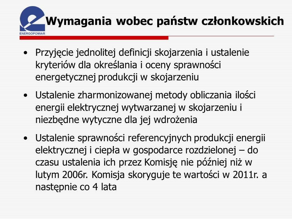 Wymagania wobec państw członkowskich Przyjęcie jednolitej definicji skojarzenia i ustalenie kryteriów dla określania i oceny sprawności energetycznej