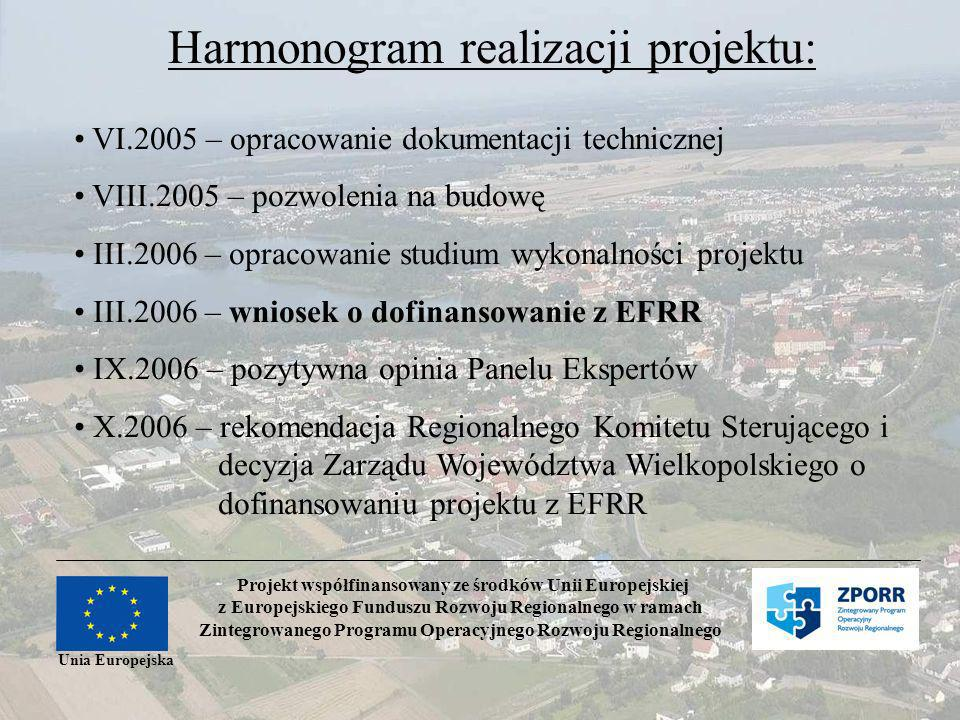 Projekt współfinansowany ze środków Unii Europejskiej z Europejskiego Funduszu Rozwoju Regionalnego w ramach Zintegrowanego Programu Operacyjnego Rozwoju Regionalnego Unia Europejska Harmonogram realizacji projektu: VI.2005 – opracowanie dokumentacji technicznej VIII.2005 – pozwolenia na budowę III.2006 – opracowanie studium wykonalności projektu III.2006 – wniosek o dofinansowanie z EFRR IX.2006 – pozytywna opinia Panelu Ekspertów X.2006 – rekomendacja Regionalnego Komitetu Sterującego i decyzja Zarządu Województwa Wielkopolskiego o dofinansowaniu projektu z EFRR
