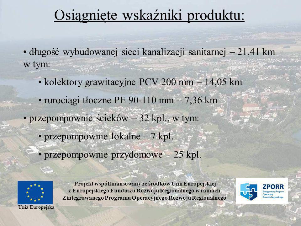Projekt współfinansowany ze środków Unii Europejskiej z Europejskiego Funduszu Rozwoju Regionalnego w ramach Zintegrowanego Programu Operacyjnego Rozwoju Regionalnego Unia Europejska Osiągnięte wskaźniki produktu: długość wybudowanej sieci kanalizacji sanitarnej – 21,41 km w tym: kolektory grawitacyjne PCV 200 mm – 14,05 km rurociągi tłoczne PE 90-110 mm – 7,36 km przepompownie ścieków – 32 kpl., w tym: przepompownie lokalne – 7 kpl.