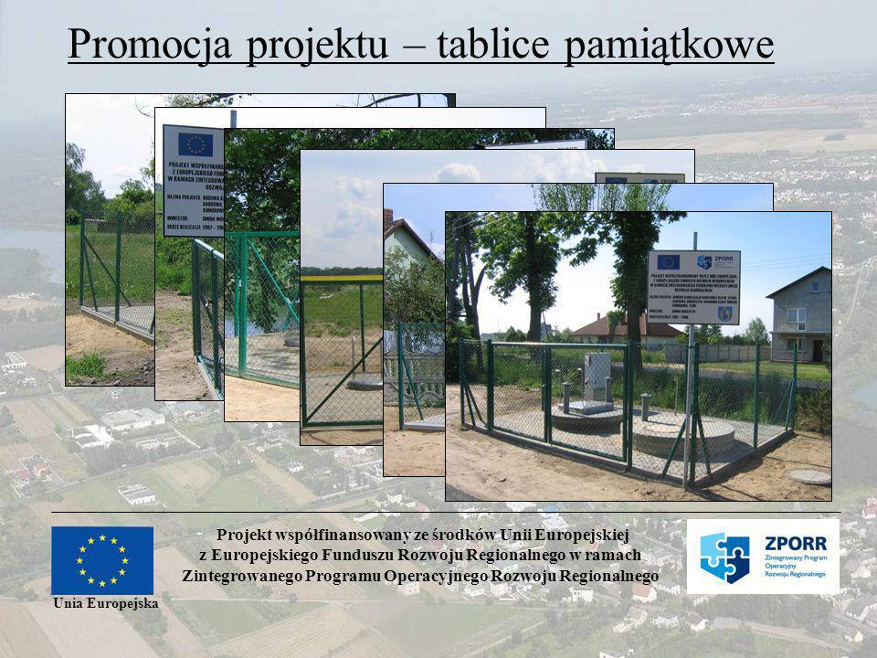 Projekt współfinansowany ze środków Unii Europejskiej z Europejskiego Funduszu Rozwoju Regionalnego w ramach Zintegrowanego Programu Operacyjnego Rozwoju Regionalnego Unia Europejska Promocja projektu – tablice pamiątkowe