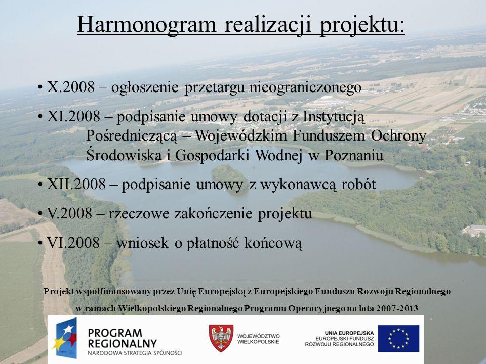 Harmonogram realizacji projektu: X.2008 – ogłoszenie przetargu nieograniczonego XI.2008 – podpisanie umowy dotacji z Instytucją Pośredniczącą – Wojewó